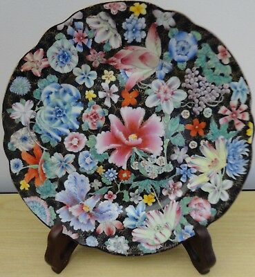 Superb Guangxu Mark & Period Famille Noire Millefleur Side Plate
