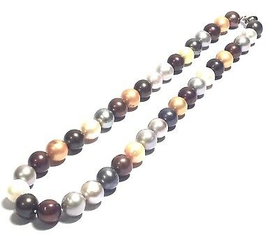 """Beautiful Multi Colors 10-11mm Cultured Round Pearl 18"""" Vintage Necklace"""