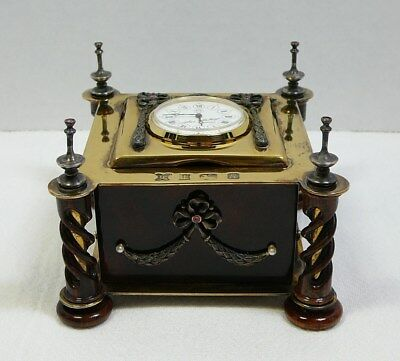 Theo Faberge Desk Clock Sterling Silver Cocobolo Wood #43/500 Rubies Pearls '89