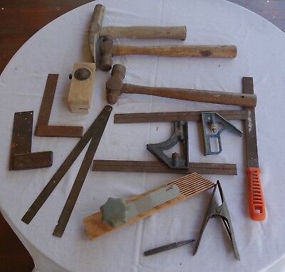 Bulk lot of old tools including hammers, squares