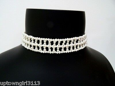vintage PEARLS & STERLING SILVER CHOKER dog collar SIMPLY ELEGANT party SIGNED
