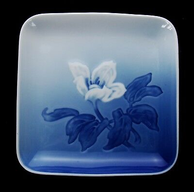 Signed Bing and Grondahl 194 Square Bowl Plate Blue and White Floral - DK60