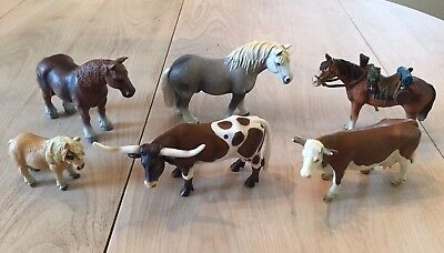 Lot Of 6 Schleich Toy Horses & Cows