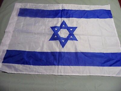 "ISRAEL HEBREW BANNER FLAG NYLON  33"" x 23"""