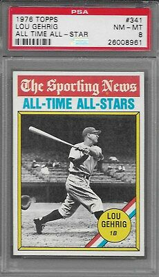 (PSA 8 Graded) LOU GEHRIG 1976 Topps ALL TIME ALL-STAR #341 YANKEES Mint (NM-MT)