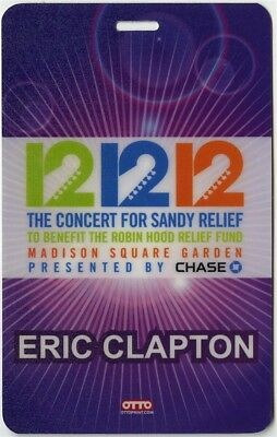 Eric Clapton authentic 12/12/12 concert for Sandy Relief Laminate Backstage Pass