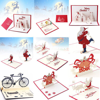 3D Pop Up Merry Christmas Handmade Greeting Holiday Cards Xmas New Year Gift