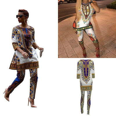 Women Plus Size African Print Dress Traditional Hippie Dashiki Shirt Pants Party