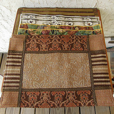 8 Tapestry Style Placemats Fall Thanksgiving Botanical Themes Fruits & Flowers