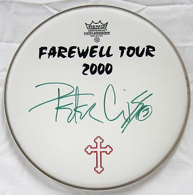 KISS authentic autographed PETER CRISS DRUM HEAD signed 2000 FAREWELL tour