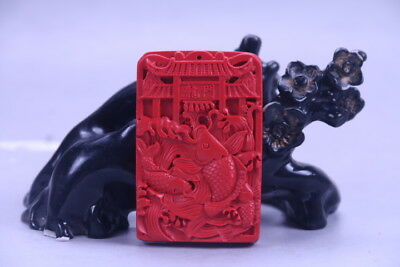 100% natural cinnabar exquisite chinese hand carving fish statue X109