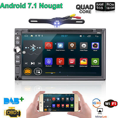 "Android 7.1 7"" 2Din Car Radio Stereo DVD Player GPS Nav OBD BT 4G WiFi HD + cam"