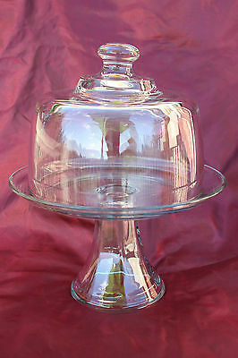 2-Piece Dual Purpose 40 oz Glass Punch Bowl / Cake Stand
