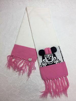 VTG Disney Minnie Mouse Scarf Winter Knit Fringe Pink White Mickey for Kids
