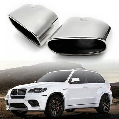 Pair Chrome Exhaust Muffler Dual End Pipe Tip Stainless Steel For BMW X5 E70
