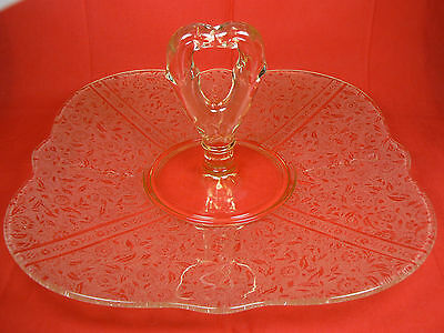 """10"""" Etched Yellow Depression Glass Scalloped Platter Center Handle Tidbit Tray"""