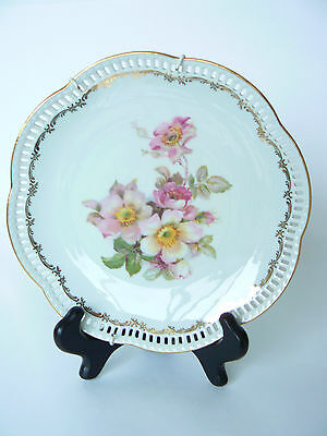 """Vintage Schumann Arzberg 8"""" Pierced Scalloped Wild Rose Plate with wall hanger"""