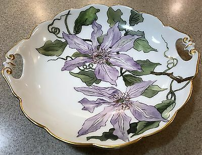 Antique MR France Purple Clematis Cake Plate with Gold Trim