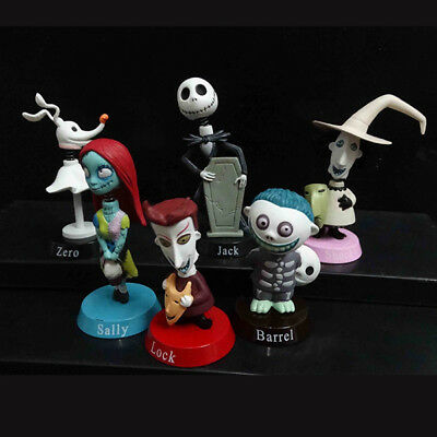 Nightmare Before Christmas Jack Sally Zero Barrel Shock Lock 6pcs PVC Figure Toy
