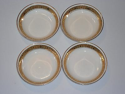 4 Burleigh Burgess and Leigh Bowls 4696 Ivory China Gold Encrusted Dessert Berry