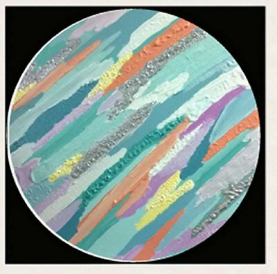 1 of a kind Round Circle Hand Painted Abstract Canvas Painting Original 3D Art