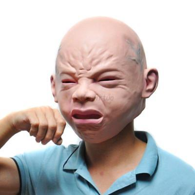Creepy Cry Baby Full Head Face Latex Scary Mask Halloween Adult Mask Costume