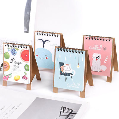 2017 - 2018 Cute Cartoon Desk Desktop Calendar Flip Stand Table Office Planner