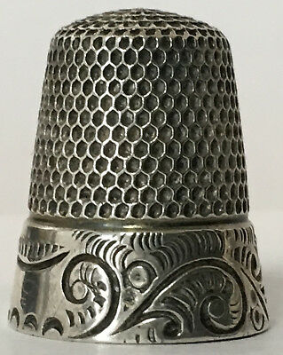Utermeyer-Robbins & Co. -  Sterling Thimble - Quaker Band w/Hand Chased Feathers