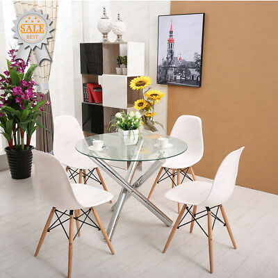 Glass Round Dining Room Table Set and 4 X White Lounge Chairs Sets DSW Eiffel