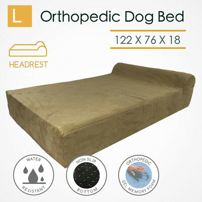 Large Orthopedic Memory Foam Dog Bed Mattress Bolster Pillow Waterproof Big