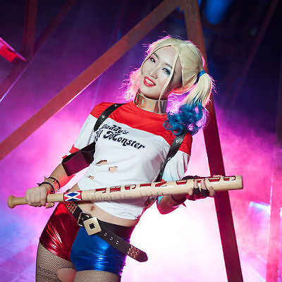 Wooden Baseball Bat Halloween Cosplay For DC Suicide Squad Harley Quinn 83cm