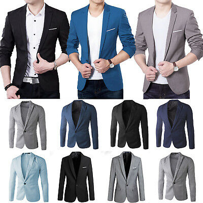 Men Formal Blazer Suit Coat Jacket Slim Business Wedding Party Black Casual Top