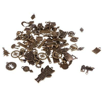 100g Vintage Steampunk Mixed Rudder Pendant Charms Bracelet Jewelry DIY