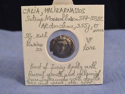 Ancient Greek Coin Caria Halikarnassos Silver 377-353Bc Vf Rare Apollo Zeus