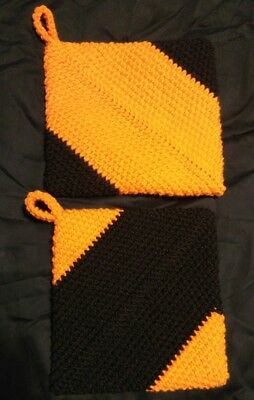 Set of Halloween/Bengals Colored Double Thick Crocheted Potholders!