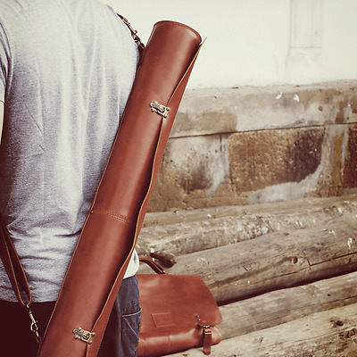 Beautiful Handmade Leather Drawing Tube 'Alviela' - Ideal & Co -Made in Portugal