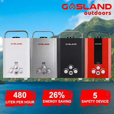 GASLAND Portable Camping Gas Hot Water Heater Shower RV Outdoor 4WD Pump Stand