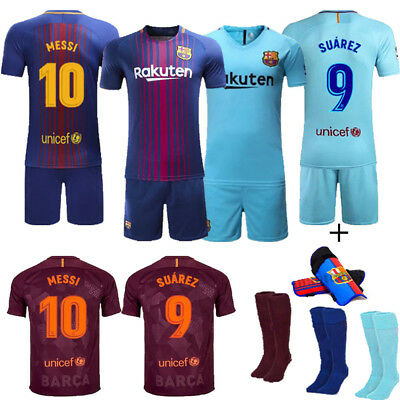 2017-18 Soccer Sport Outfit Home/Away Kit Kids Youth Jersey 3-12 Yrs+Kneepad Set