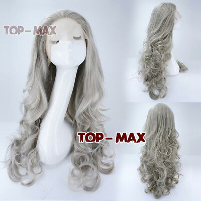 Sliver Grey Heat Resistant Lace Front Wig 24 inches Cosplay Wig + Free Cap Wig