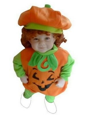 Cute Baby Boy Girl Pumpkin Halloween Costume, Size 9-12 months Outfit Set NEW