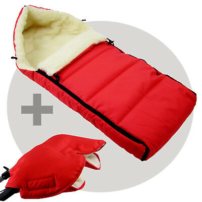BAMBINIWELT MUFF+WINTERFUSSSACK (108cm) Jogger Buggy Wolle LINIERT UNI ROT