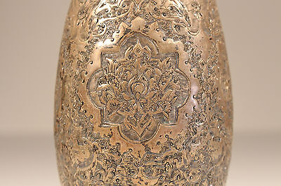 EARLY ANTIQUE PERSIAN SOLID SILVER VASE, ISFAHAN 19.C. HAMMERED 300Gr