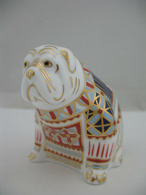 Royal Crown Derby Imari Style Figurine Paperweight: Bulldog, dog with button
