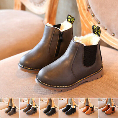 Baby Kid Children Boys Girls Winter Warm PU Leather Ankle Boots Fur Casual Shoes