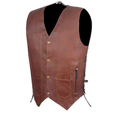 SOA Men's Armor Distress Brown Leather Motorcycle Concealed Gun Carry Vest