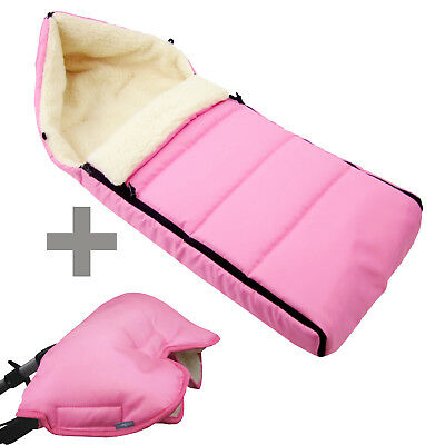 BAMBINIWELT MUFF+WINTERFUSSSACK (90cm) Jogger Buggy Wolle LINIERT UNI ROSA