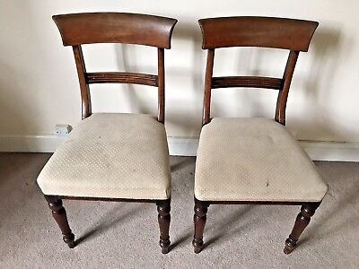 2 x Victorian Solid Mahogany Bar Back Dining Occasional Chairs