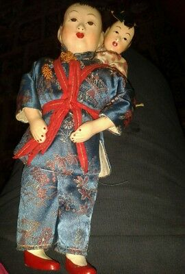 Vintage Chinese Lady Carrying Child  Very Old Dolls Beautiful  Workmanship