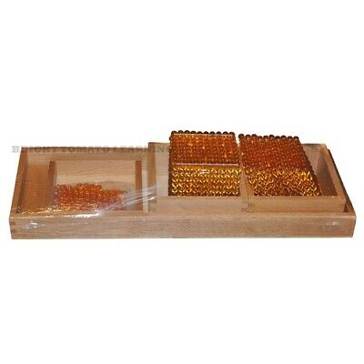Montessori GOLDEN BEADS Bars DECIMAL SYSTEM Wooden TRAYS MATHS Educational TOY