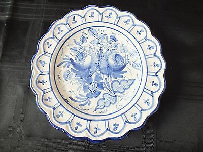 """Vintage Blue and White 9"""" Plate made in Spain"""